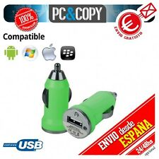 Cargador mini mechero coche USB 1A para movil tablet verde car 12-24v 1000mA