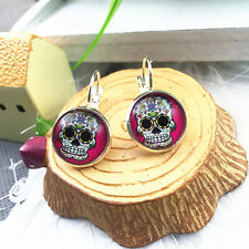 Hot 1 pair Handmade skull Glass Cabochon French Dangle Earrings EQ19#