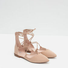 Zara nude pointu lacets cravate ballerines escarpins uk 6 europe 39