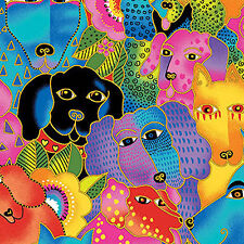 Laurel Burch Canine Clan Dogs Cotton Fabric 1 Yard  NEW 2015 Design
