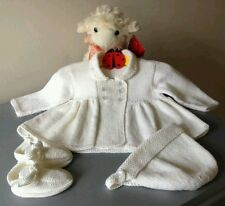 Beautiful New Handmade Baby Girl Coat Bonnet & Shoes in Cashmere Merino & Silk.