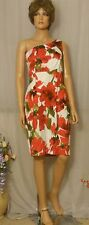 Gorgeous Sexy Evan-Picone Red Abstract Flower One Shoulder Sheath Dress, 12