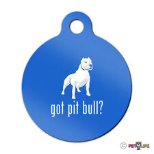 Got Pit Bull Engraved Keychain Round Tag w/tab alert v2 Many Colors