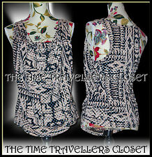 KATE MOSS TOPSHOP BEIGE BLACK WHITE SPOT RACER DOUBLE FRONT DRAPE VEST TOP UK 8