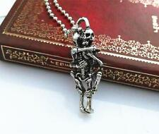 Fashion Unisex Tibet Silver Alloy Skull Pendant Chain Infinity Lover  Necklace