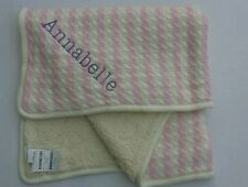 "Pottery Barn Emerson Stroller Blanket Pink Monogrammed ""Annabelle"" NWT"