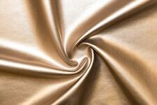 Gold Matte Pleather Faux Leather Stretch Polyester Lycra Spandex Fabric BTY