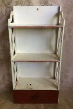 Vtg Wood Painted Shelf Bathroom Wall Spice Rack w Drawer Organizer Handmade 20""