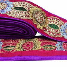 Beaded Trim Purple 7.6 Cm Wide Decorative Border Lace Sewing Supply By 1 Yard
