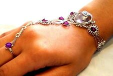 Ladies Handmade Alpaca Silver Slave Bracelet with Purple Glass Stone # ALPB210