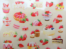 Korean strawberry dessert stickers! Cute cakes, tarts, French macarons, cupcakes