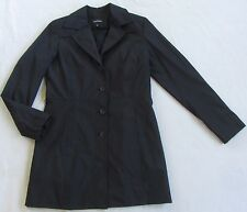 Express Women's L/S Button Down Black Longer Length Rain Coat Jacket - Size 3/4