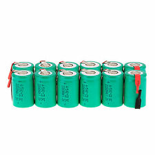 Lot of 12Pcs NiCd 4/5SubC Sub C 1.2V 2200mAh Rechargeable Battery with Tab Green