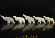 NATURAL JADE CARVED 5 LOVELY ELEPHANT STATUE FIGURINE GIFT ORNAMENT VINTAGE COLL
