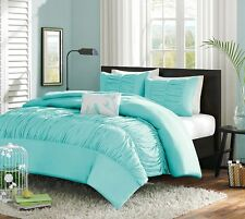 Turquoise Blue Aqua Girls Full / Queen Comforter Set, 4 Piece Bed In A Bag, New~