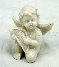 Decorative Shiny White Ceramic Cherub playing a Harp figurine