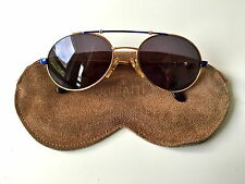 Vintage Bugatti 14651 rare oro Blue unisex Sunglasses | Suede case | Medium