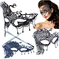 Large Peacock Victorian Venetian Masquerade Black Lace Elegant Eye Mask Costume