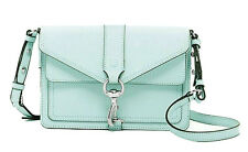 Rebecca Minkoff Mint Hudson MOTO Mini Saffiano Leather Crossbody Bag NWT $265