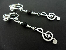 A PAIR OF TIBETAN SILVER MUSICAL NOTE TREBLE CLEF THEMED CLIP ON  EARRINGS. NEW.