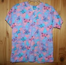 Scrub H.Q.  SCRUB TOP  size XS  PRETTY Bright & Colorful   Butterflies   LOT6848