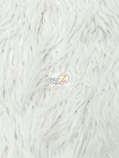 "FAUX FAKE FUR SOLID MONGOLIAN LONG PILE FABRIC - White - 60"" SOLD BY THE YARD"