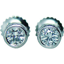 Vintage 18K white gold .40c VS-GH Diamond Studs Earrings Etched Estate Jewelry