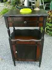 Vtg UNIQUE Wood standing Ashtray Copper lined Humidor drawer HIDES YOUR BUTTS
