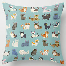 New Lovely Cats Super Soft Cotton Cushion Cover Throw Pillow Case YRC44