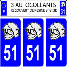 3 sticker plaque immatriculation auto DOMING 3D RESINE CASQUE POMPIER DEPARTE 51