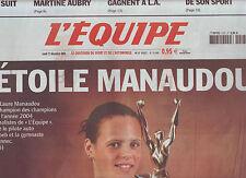 journal  l'équipe du 27/12/2004 LAURE MANAUDOU CHAMPIONS DES CHAMPIONS