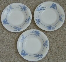 Set 3 Arcopal France Rimmed Soup Bowl Pasta Dish Crackle Blue Fruit Floral Wheat