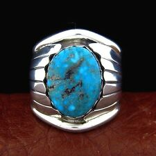 Native American Handmade Sterling Silver Turquoise Ring Size 10 --- R39 E T