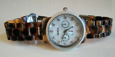 Designer  style Geneva Tortoise shell/Silver finish fashion boyfriend  watch