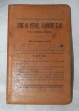 1868 Antique Bank Book Pass Book Bank of Pierce Simmons & Co Red Wing MN