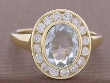 R238- Genuine 9K Gold NATURAL Aquamarine & 0.50ct Diamond Engagement Ring size N
