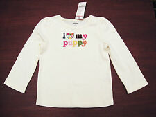 NWT GYMBOREE Lots of Dots I Love My Puppy Off-White Long Sleeve Tee Top Sz 4 4T