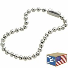 "500 LOT Silver 4"" 2.5mm BALL CHAIN LINK NICKEL PLATED DOG TAG CONNECTOR KEYCHAIN"