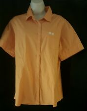 Orange short sleeve cotton Harley Davidson Button front Shirt XL ladies