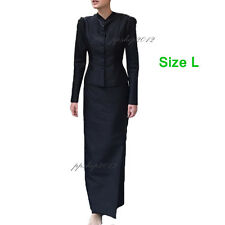 BLACK Size L THAI TRADITIONAL TOP LONG SLEEVE SKIRT WOMEN DRESS