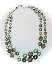 VINTAGE JAPAN - GREEN & CLEAR FACETED GLASS 2-STRAND BEAD NECKLACE