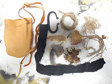 handmade primitive frontier steel and flint fire starting kit w/ tan leather bag