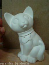 Sassy Cat Kitten Fish on Collar ready to Paint Ceramic Bisque 5 inch hand made