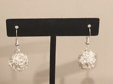 Pretty New Sterling Silver Plated Decorative Wire Ball Dangle Drop Earrings