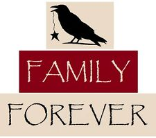Stencils 3 PC Block Set Family Forever Saying Primitive Crow Free Shipping!