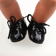 Doll shoes fit 43cm Baby Born zapf Handmade black leather shoes dollsb675