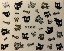 Nail Art 3D Glitter Decal Stickers Cat Kittens Fish Bones Halloween BLE975D