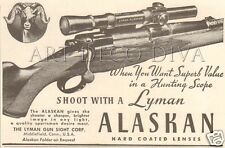 VTG 1950 Lyman ALASKAN Gun Sight Scope HUNTING Mountain Sheep Alaska Rifle Ad