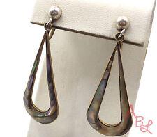Sterling Silver Vintage 925 Open Tear Drop Abalone Dangle Earrings (6.9g) 550672