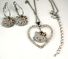 Hello Kitty Silver Gold Bow Swarovski Crystal Dangle Earrings Necklace Jewelry
